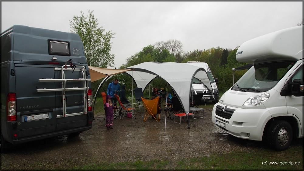 Der Pavillon steht in der Wagenburg